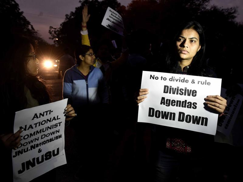The debate over the Afzal Guru event in JNU and then the arrest of Kanhaiya Kumar has divided the nation into sides. While the right wing-affiliated groups claim the event as anti-national and seditious, the arrests of the students has drawn criticism of the Left thinkers who have said the Centre is oppressing the views and curbing the freedom of expression in the country. (Vipin Kumar/HT Photo)