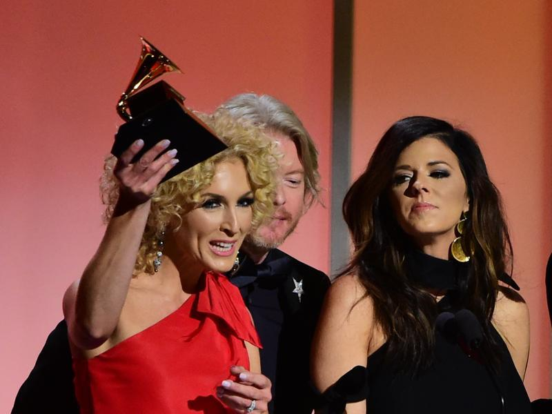 Members of Little Big Town recieve the award for the Best Country Duo/Group Performance, Girl Crush onstage during the 58th Annual Grammy music Awards in Los Angeles February 15.  (AFP)