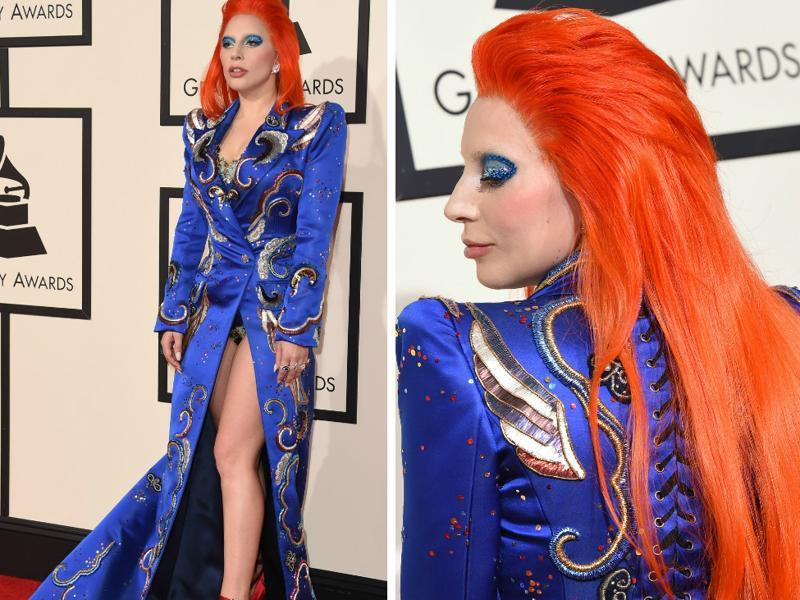 GOOD: Lady Gaga channels Dawid Bowie's spirit in her Grammy outfit. Don't miss the red hair. (AFP)