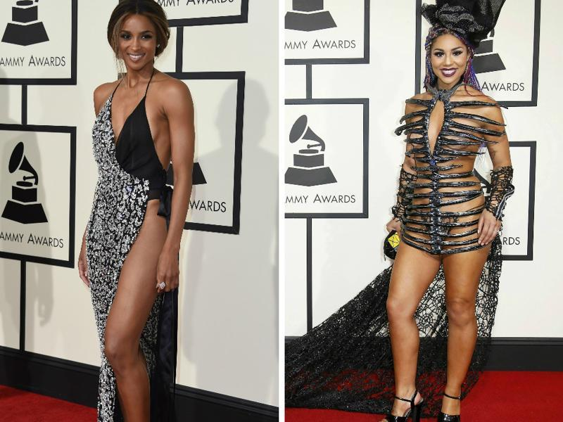 BAD: Ciara and Joy Villa got all the attention on the Grammy red carpet. Just not for the right reasons. (AP)