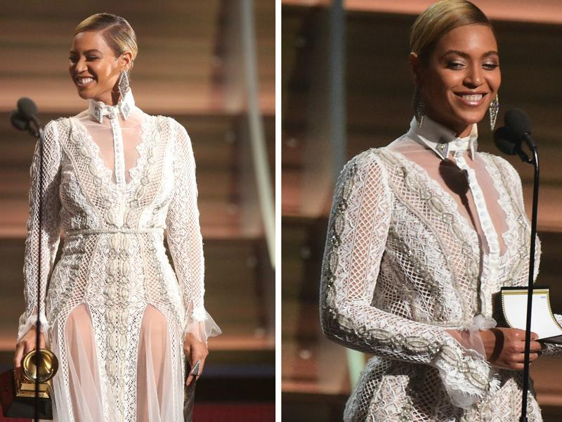 GOOD: Beyonce steps on the stage like the Queen that she is.  She slays, as always. (AP)
