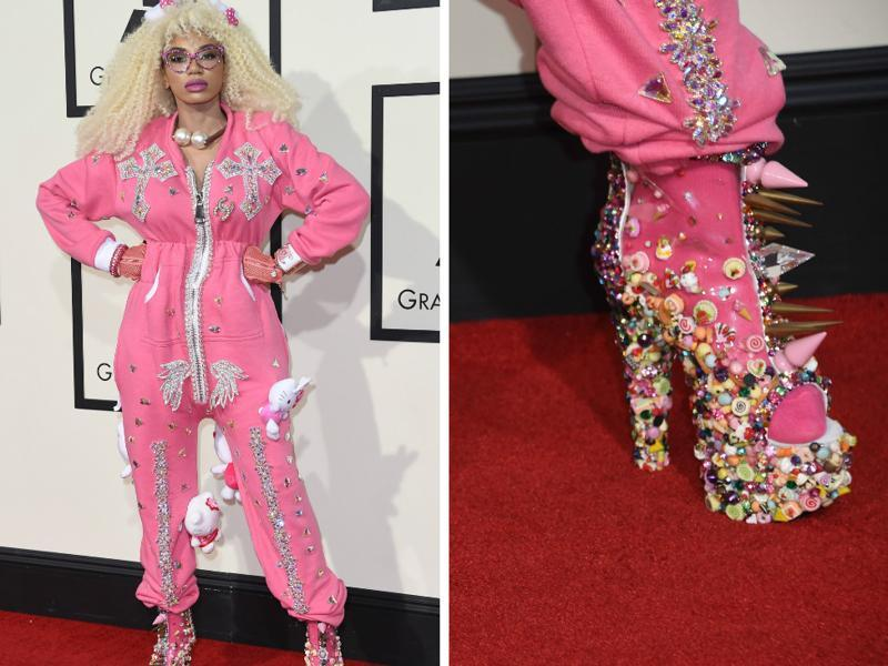 BAD: Dencia wore a pink onesie to Grammys. She then accessorised it with hello Kitty. And wore shoes from outer space to go with it. It is worse than it sounds. (Reuters)