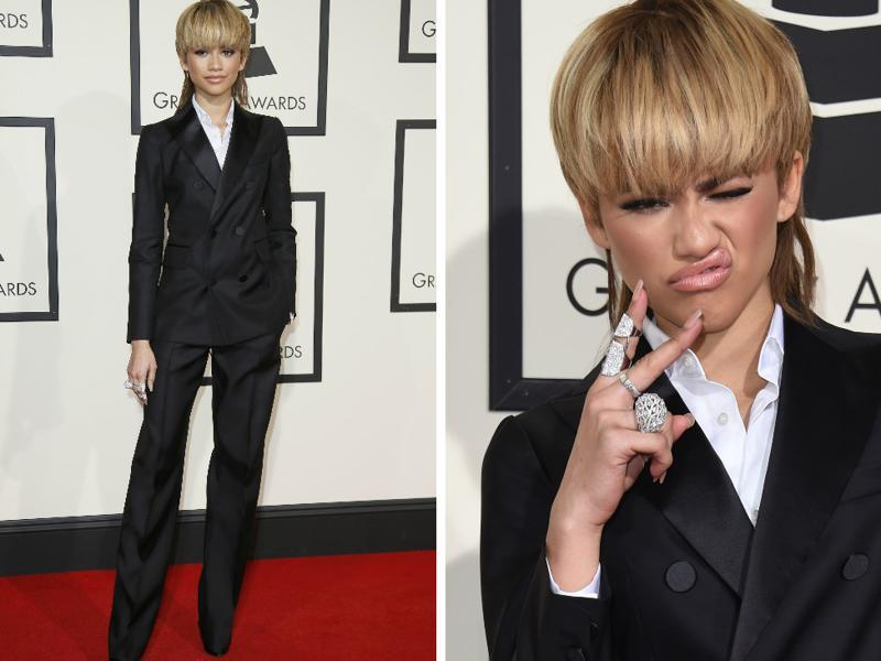 GOOD: Zendaya's tux, her blonde mullet and her attitude... what's not to like? (AFP)