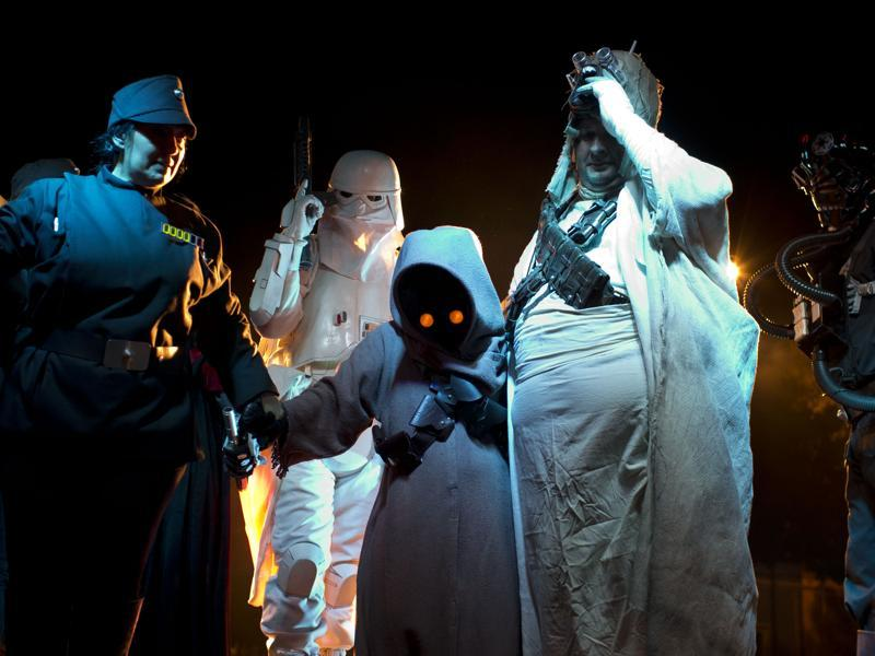 People dressed as Star Wars characters exit the stage during the annual festival.  (AP)