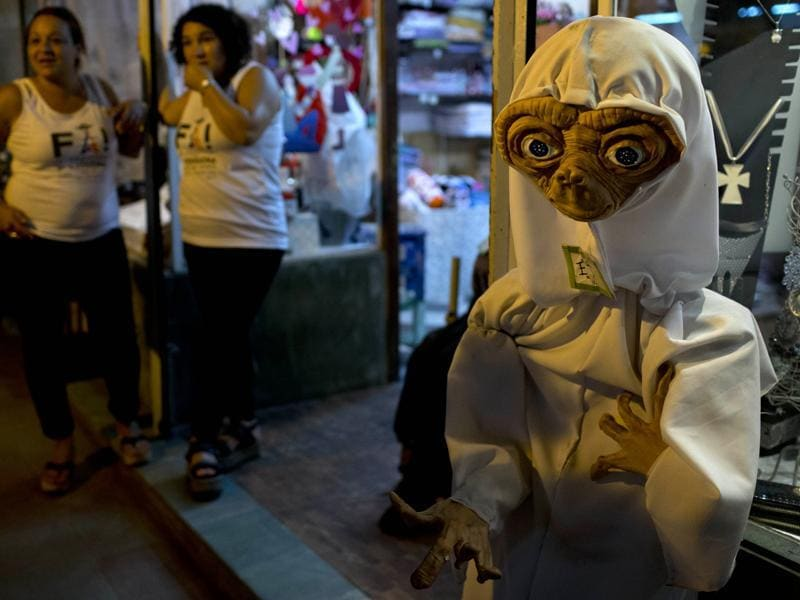 An ET doll outside a shop during the festival. (AP)