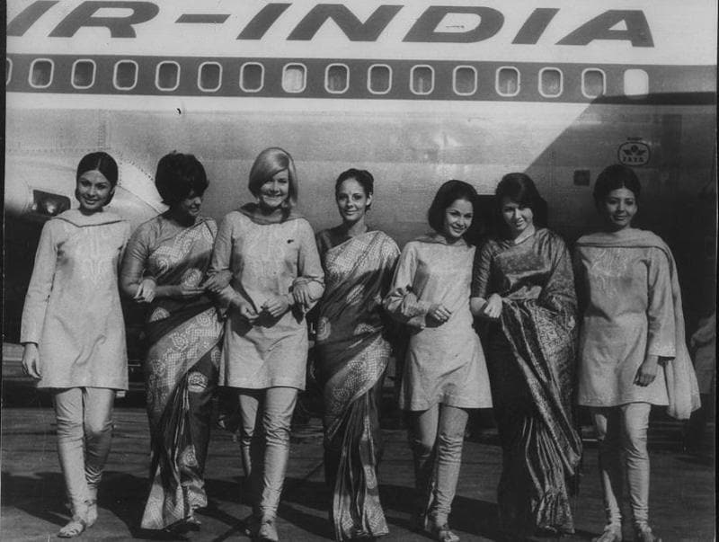 On a high: AI's air hostesses flaunting the company's newly designed uniforms at an unveiling ceremony at London's Heathrow Airport. (HT Archives)