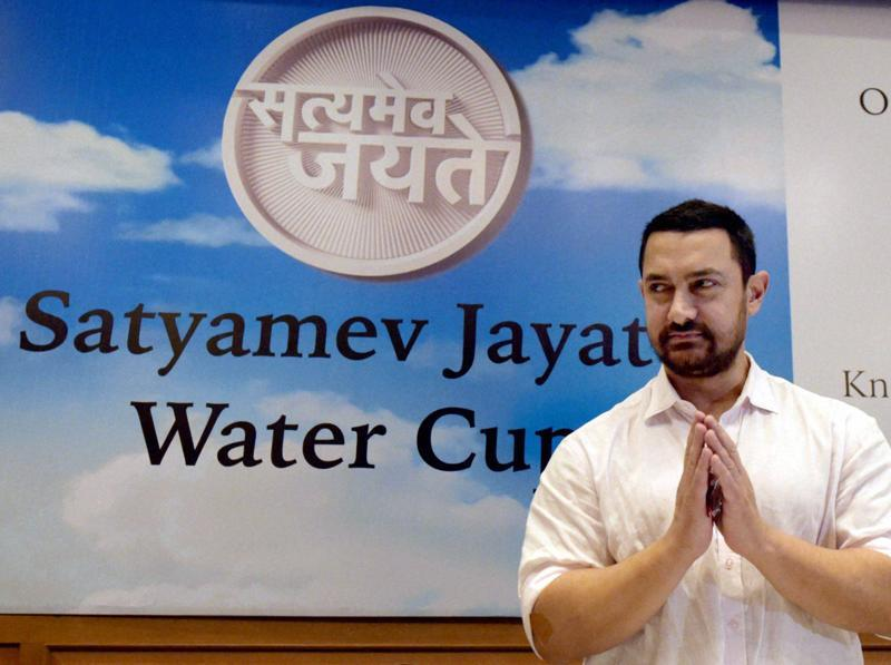 Aamir Khan during the announcement of Paani Foundation in Mumbai. (PTI)