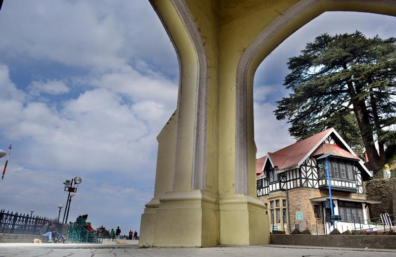 The view of historical state library during a  cloudy weather at Ridge, Shimla . (HT Photo )