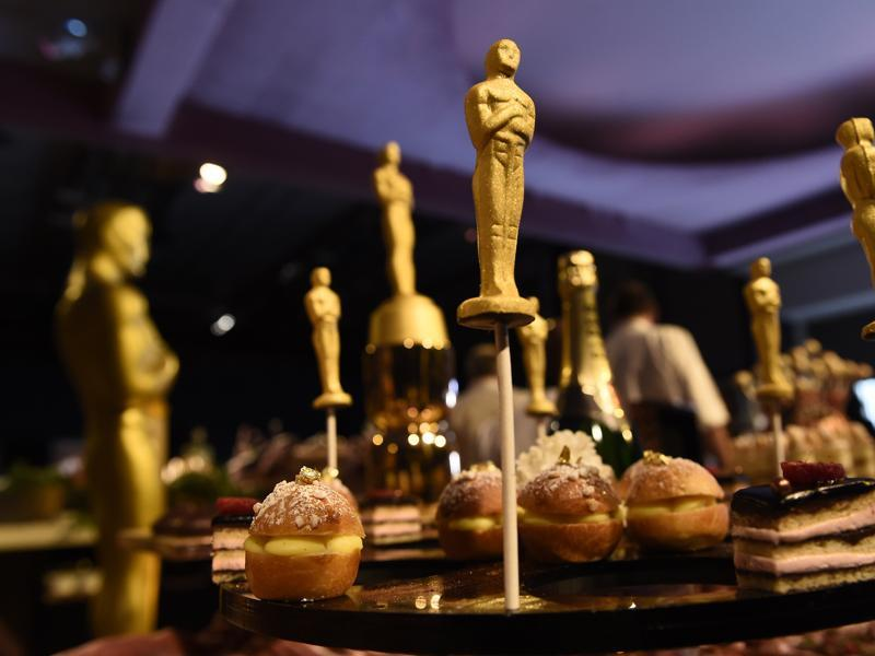24-karat-gold chocolate Oscars are displayed at the 88th Academy Awards Governors Ball Press Preview. The 88th Academy Awards ceremony will be held at the Dolby Theatre in Los Angeles on Sunday, Feb. 28. (AP)