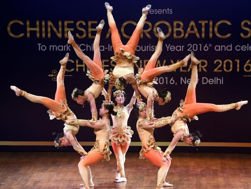 Chinese artists from the Gansu Province Acrobatic Troupe perform in New Delhi on February 18, 2016 to mark the China-India Tourism Year 2016. Organised by the Chinese embassy, it also celebrated the Lunar New Year. (AFP)