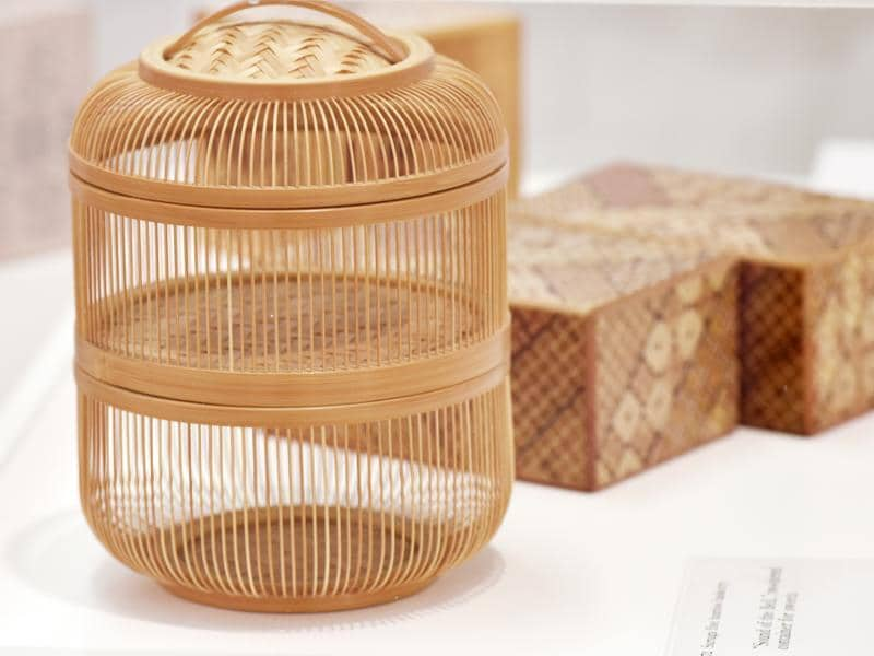 Insect cage and a secret box (in the background) made using the ancient art of marquetry that features delicate  patterns by juxtaposing different colours and grains of natural wood. (Photo by Raj K Raj / Hindustan Times) (Hindustan Times)