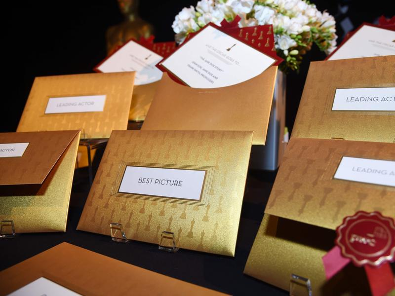 Envelopes and award announcement cards for the 88th Oscars are displayed on at a preview of the food and décor of this year's Governors Ball, which will follow the 88th Oscars ceremony on February 28, at the The Ray Dolby Ballroom at Hollywood & Highland Center in Hollywood. (AFP)