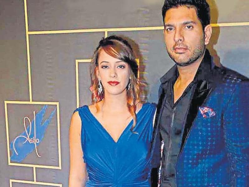 Hazel Keech and Yuvraj Singh came together for an event in Mumbai. (HT)