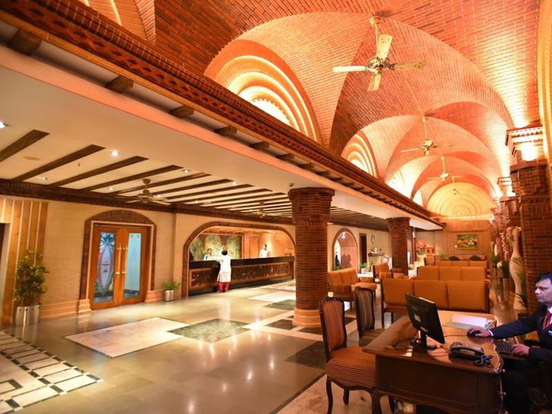 The lobby of Hotel Tara. The film city has themed restaurants and hotels to suit different pockets. (Photo: Raj K Raj/HT)