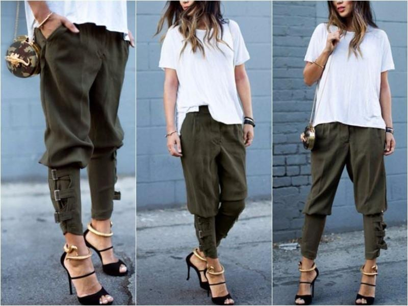 Party with the girls in your most comfortable garb by adding these buckled-hem army green harem pants in to your ensemble. By simply pairing these with stilettos, a loose-fitting crop top and a structured crossover mini bag, these non-stretchable pants with side pockets can throw some punch in the style department. And if you're going for that laidback look, pair these army green harem pants with sneakers, a square top, and you're all set.  (Pinterest)