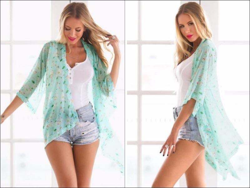 Chill out in this open-front sheer chiffon kimono! It's flowy fit and has crop sleeves with colorful floral print all over. This cute outwear is made of 100% polyester material and has no fabric lining. This sweet innovation of classic attire will give fashion geeks the chance to have a smooth and edgy look, especially when complement with a bandeau and bleached cutoffs! (Pinterest)
