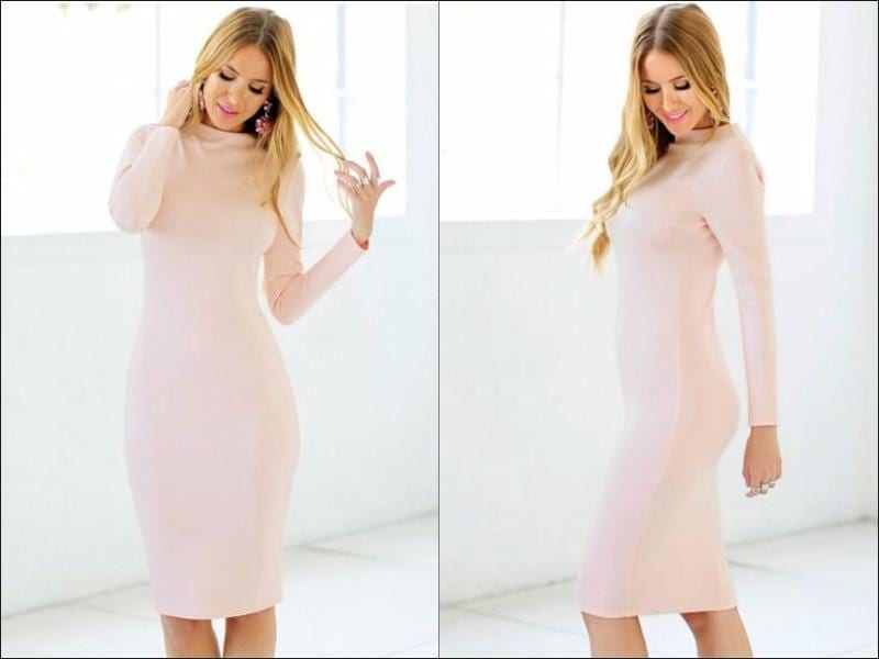 Flaunt your body in a gorgeous fitted frock like this light pink bodycon midi dress. This light pink piece features a mock neckline and long sleeve detailing for a warmer yet sexy feel. Also, since this is stretchable piece, it's sure to hug your curves just right. With sky-high pumps and a leather bag, you can pull off an eye-catching look in no time. (Pinterest)