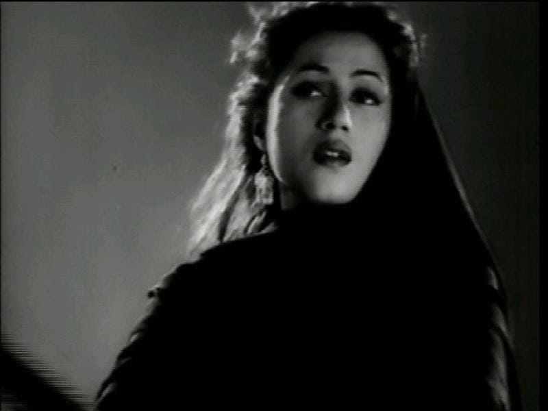 Madhubala worked opposite Ashok Kumar in Mahal (1949). Directed by Kamal Amrohi, Mahal was the first Indian thriller on reincarnation. (Youtube grab)