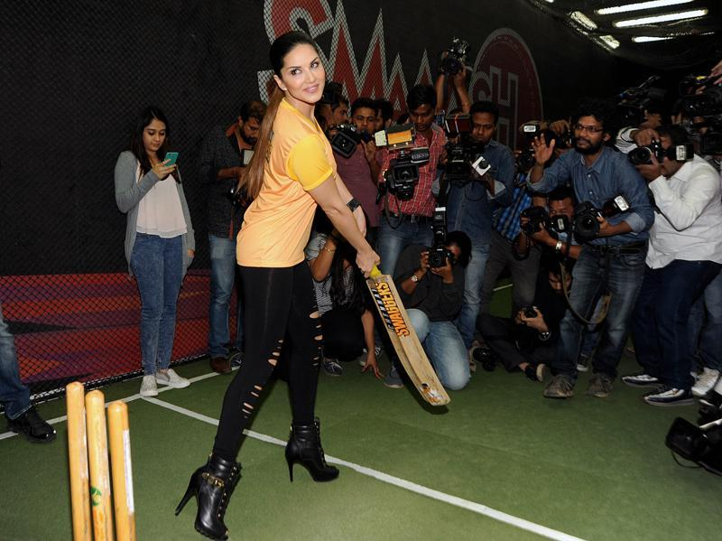 Bollywood actor Sunny Leone attends the launch of her Chennai Swaggers team for Box Cricket League 2 in Mumbai. (AFP)
