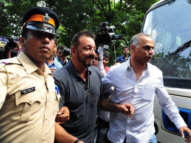 Sanjay Dutt comes out from Khar police station in Mumbai, India, on Thursday, August 27, 2015. That was the last time he had to report to police station.  (HT Photo)
