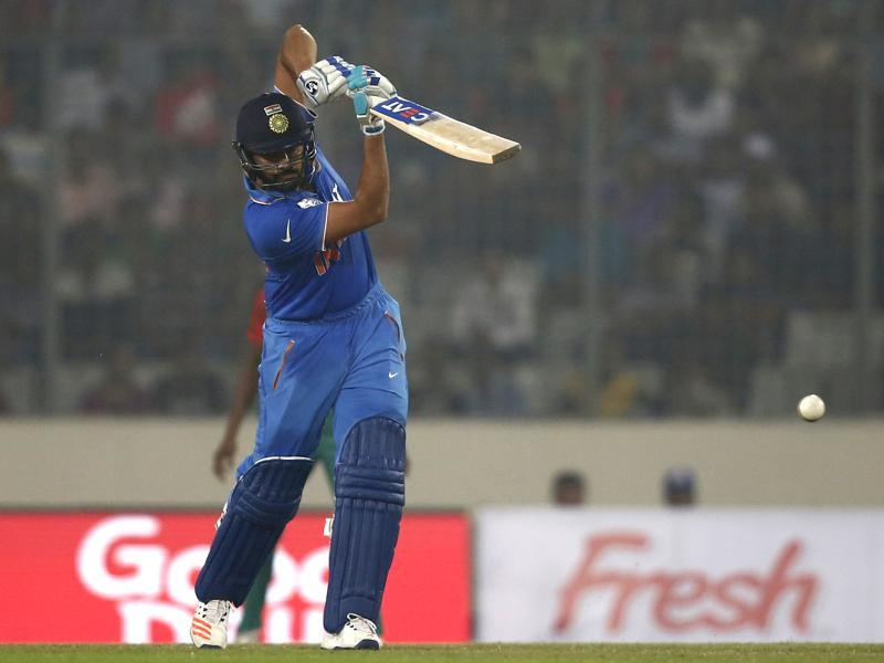 India's Rohit Sharma plays a shot. (AP Photo)