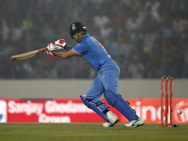 India's Yuvraj Singh plays a shot on the off side. (AP Photo)