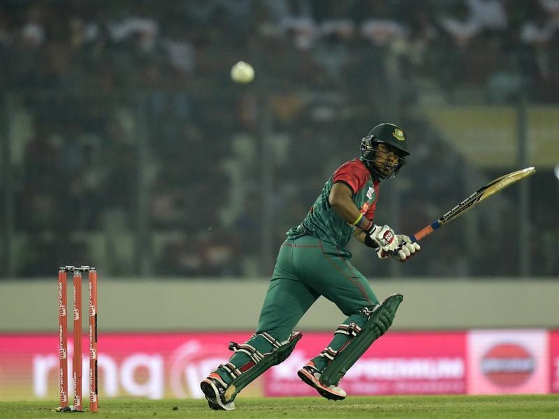 Bangladesh's Sabbir Rahman plays a shot. (AFP Photo)