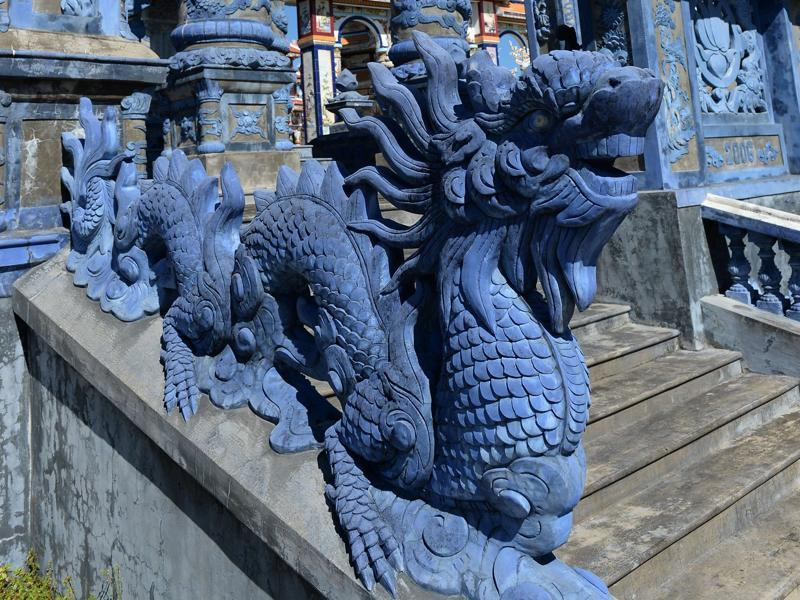 Locals in An Bang have let their creativity run riot when it comes to tombs. While traditional Vietnamese dragon carvings are popular, some graves also appear to draw inspiration from Hindu imagery, with others featuring Christian or Islamic symbols.  (AFP)