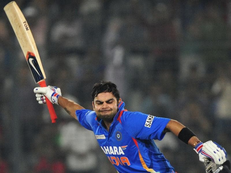 Indian batsman Virat Kohli reacts after scoring a century (100 runs) during the one day international (ODI) Asia Cup cricket match between India and Pakistan in 2014. (AFP Photo)