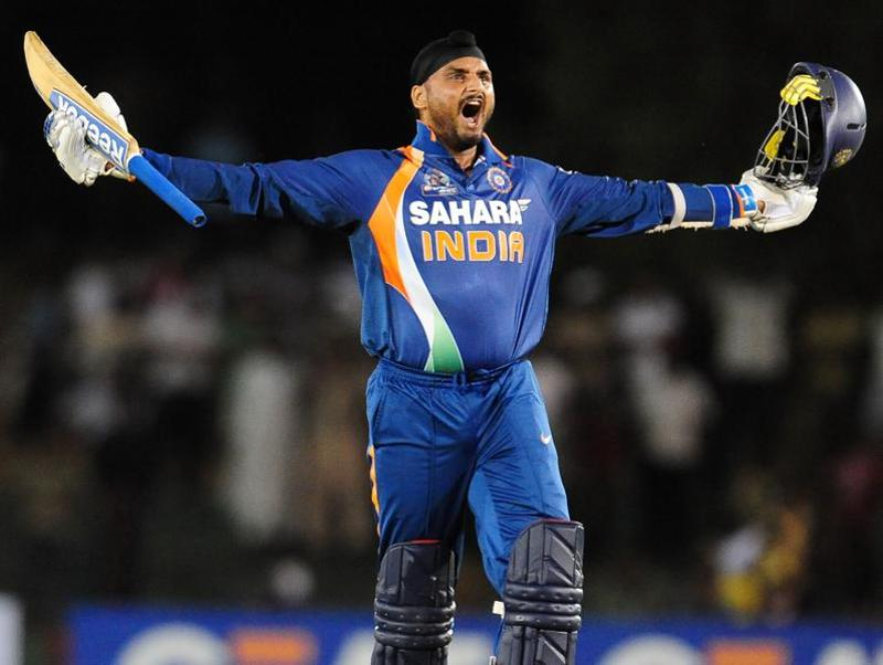 Harbhajan Singh celebrates victory in the fourth One Day International (ODI) cricket match of the Asia Cup between India and Pakistan at the Rangiri Dambulla International Cricket. (AFP Photo)