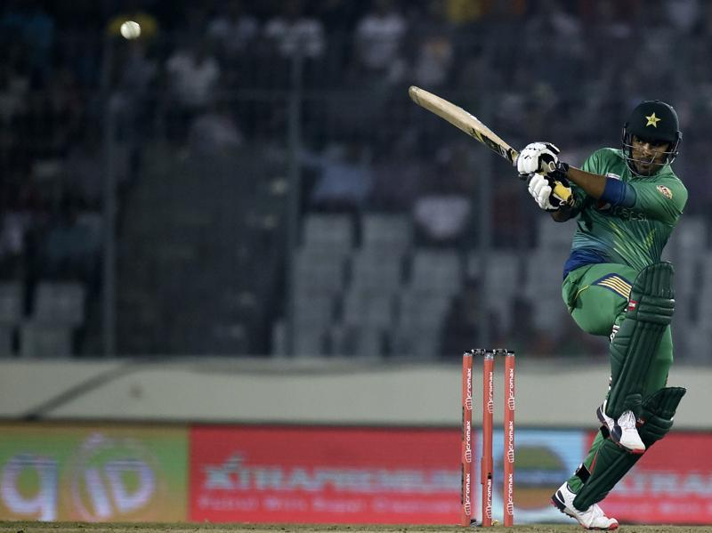 Pakistan's Khurram Manzoor plays a shot. (AFP Photo)