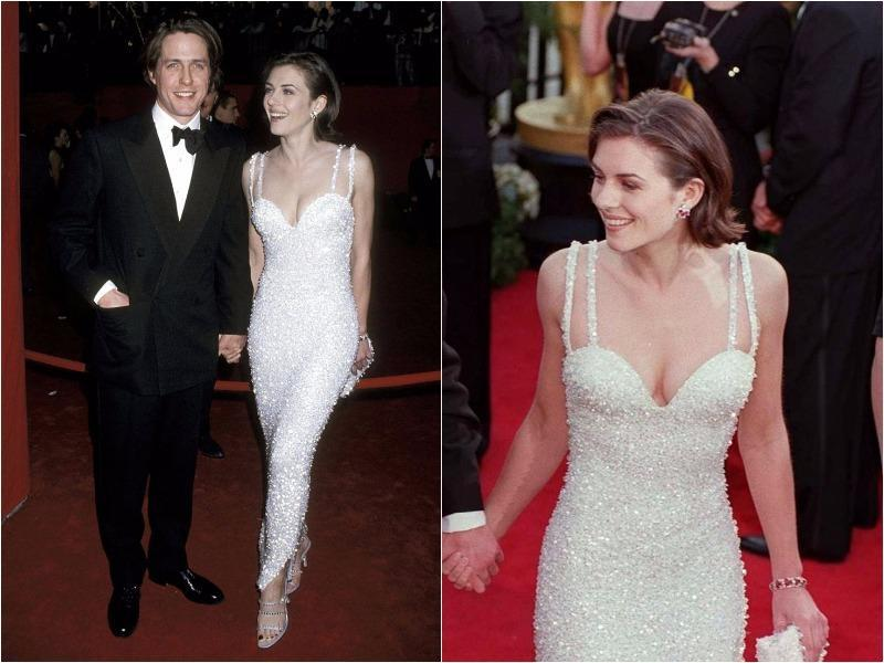 In 1995, a year after wearing THAT safety-pinned Versace dress to the premiere of Four Weddings And A Funeral, Liz Hurley stepped out once again on the arm of Hugh Grant. This time she was wearing a slightly less out-there affair, a beautiful embellished gown (with the requisite plunging neckline still in place of course).  (Pinterest)