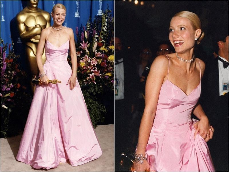 Gwyneth Paltrow's girly pink Ralph Lauren gown in 1999 is one of the memorable gowns in Oscar fashion history. (Pinterest)