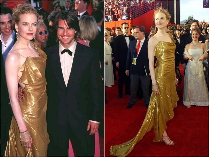 In 2000 she most certainly stole the show as she walked the red carpet with then-husband Tom Cruise. She positively shimmered in the clingy one-shouldered gold gown.  (Pinterest)