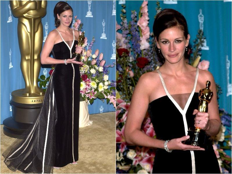 Julia Roberts brought back Old Hollywood glamour in this black-and-white Vintage Valentino dress in 2001. (Pinterest)