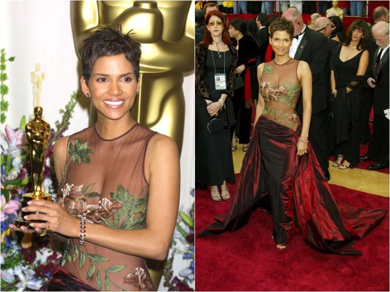 Halle Berry showed off her famous physique in this sexy sheer Elie Saab creation in 2002. (Pinterest)