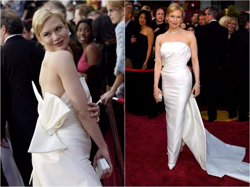 Talk about an incredible body. In 2004 Renee opted for a crisp white taffeta gown by Carolina Herrera. The style captured Old Hollywood essence and was paired with a $550,000 vintage Cartier diamond choker.  (Pinterest)