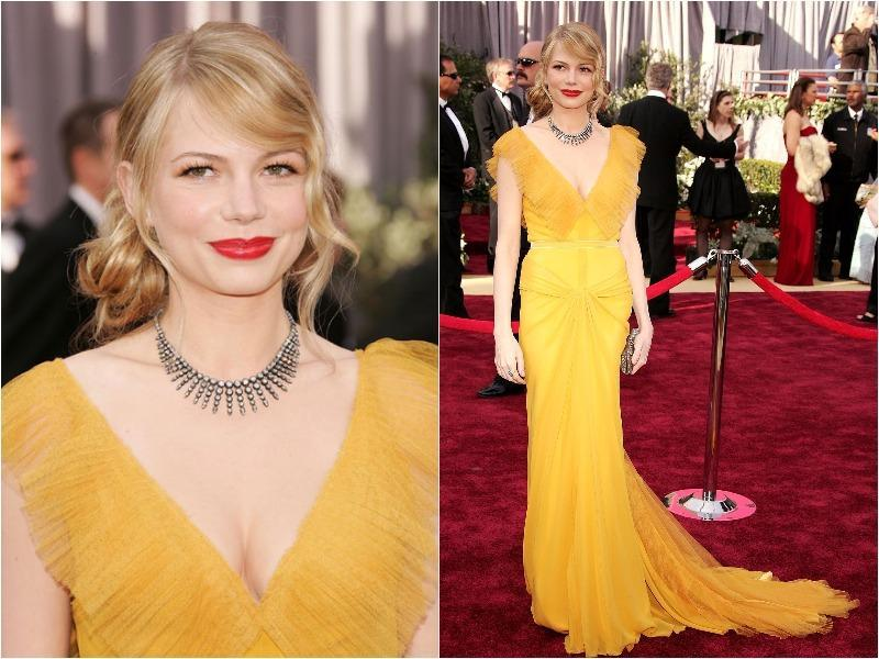 Michelle Williams was flawless in a canary yellow Vera Wang gown in 2006. (Pinterest)