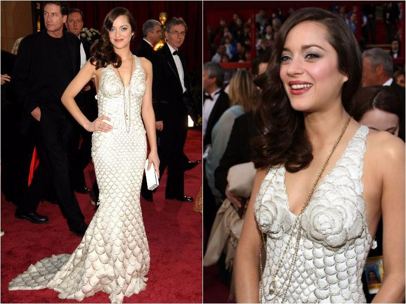 Only Marion Cotillard could pull off this unconventional fish scale Jean Paul Gaultier gown she wore in 2008. (Pinterest)