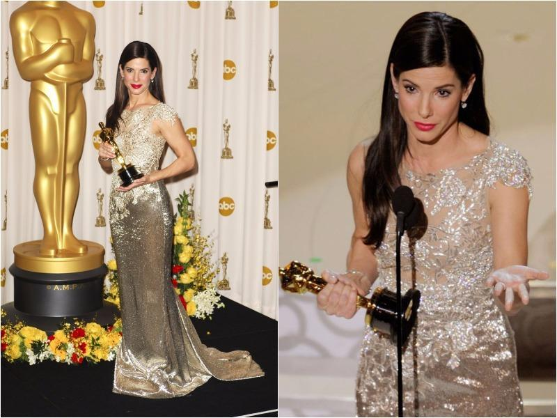 Sandra Bullock shimmered in an unforgettable gold Marchesa gown in 2010. (Pinterest)