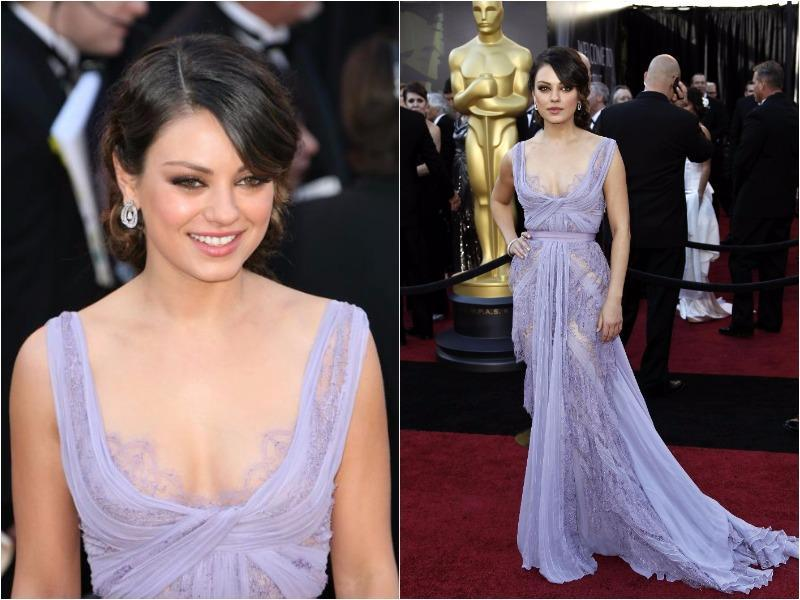 Mila Kunis established herself as a red carpet force to reckon with in this pretty lavender Elie Saab gown in 2011. (Pinterest)