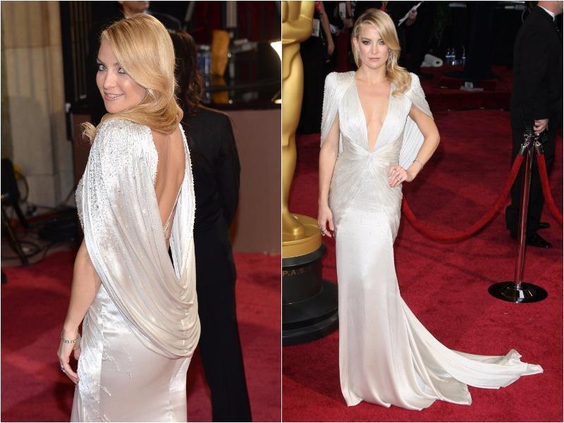 Kate Hudson's Atelier Versace gown in 2014 was Old Hollywood glamour with a modern twist and all sexy! (Pinterest)