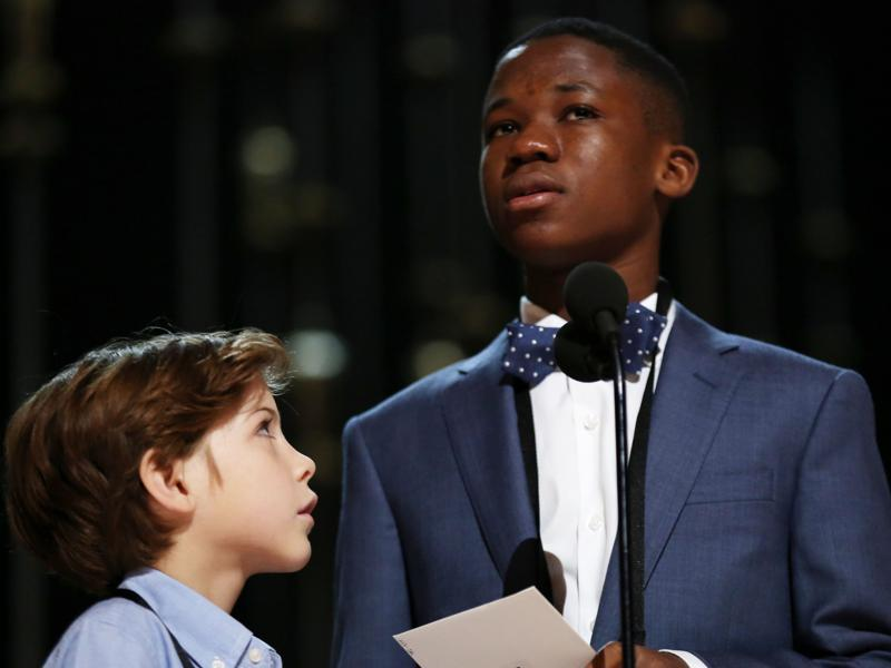 Abraham Attah, right, and Jacob Tremblay. Saturday is rehearsal day for the superstar presenters appearing on Sunday's Academy Awards, and a parade of celebrities came through the Dolby Theatre to practice reading their lines and hitting their marks. (Matt Sayles/Invision/AP)