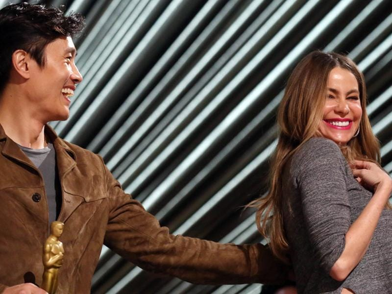 Sofia Vergara, right, and Byung-hun Lee. For many of the stars rehearsing Saturday, finding their seats inside the Dolby Theatre is among the most exciting elements. Celebrity seats are marked with photo placards during rehearsals. (Matt Sayles/Invision/AP)