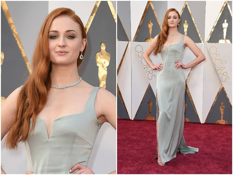Sophie Turner in a great grey dress with a slit running thigh high. (AP)