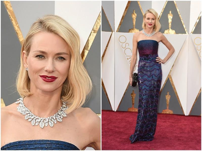 Naomi Watts decided to repeat her staple style once again with this shimmery but stylish dress. (AP)