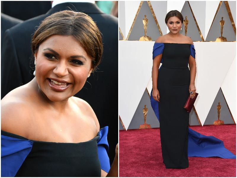 Mindy Kaling arrives in an off shoulder blue and black dress which has 3-feet long train. (Agenies)
