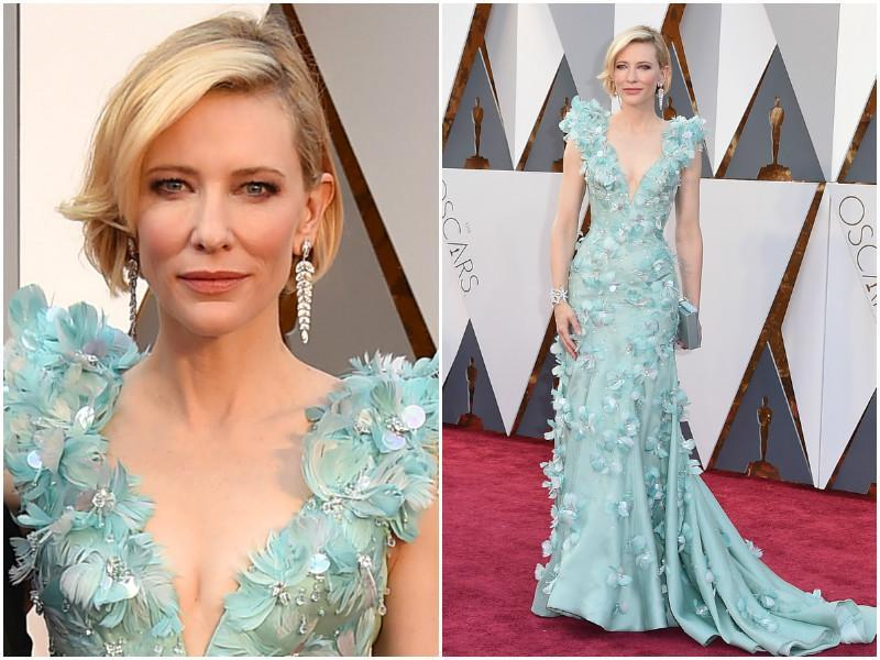 Cate Blanchett in a pretty blue dress and her signature blonde hair.  (Agencies)