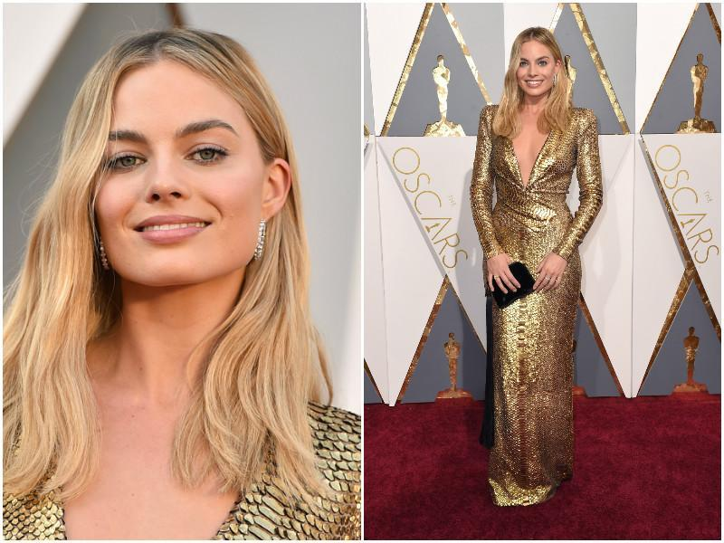 Margot Robbie decided to take it down a notch and select this golden dress. (Agencies)
