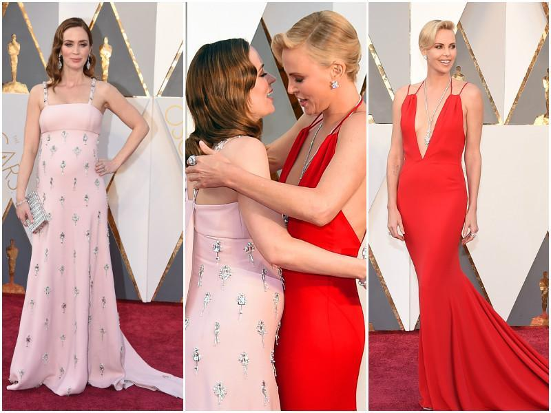 A pregnant Emily Blunt and Charlize Theron engage in a cute hug. Both look so pretty of course. (Agencies)